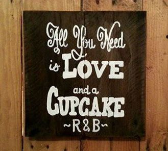 """All You Need is LOVE and a CUPCAKE - Rustic pallet sign (12"""" H x 12"""" W) hand painted, Made in..."""