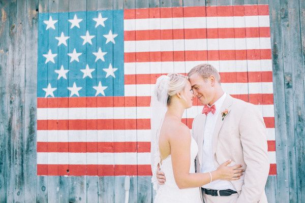 Couple by an American flag