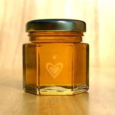 Our clear Heart & Bee label