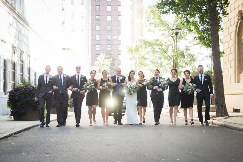 bridal party walking portait philly pa