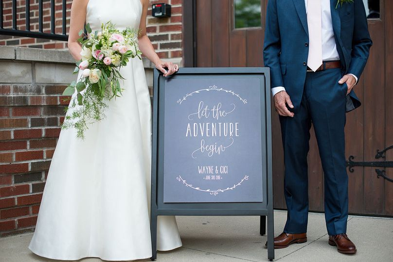 Couple's welcome sign
