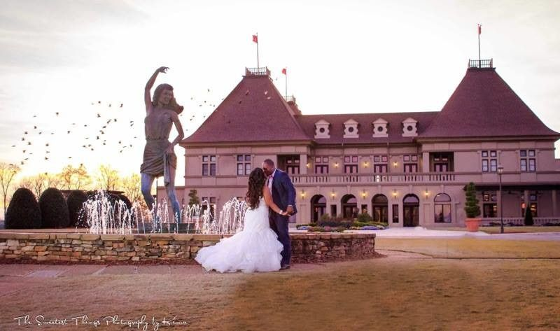 Couple in front of the chateau