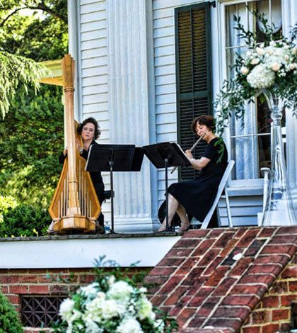 Laura byrne's flute & harp duo for a gorgeous outdoor wedding at rosehill plantation.