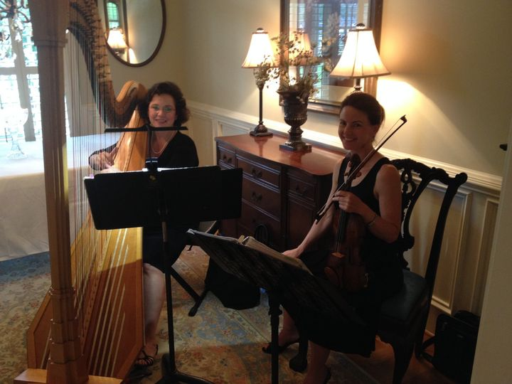 Laura byrne's violin & harp duo for a private reception.