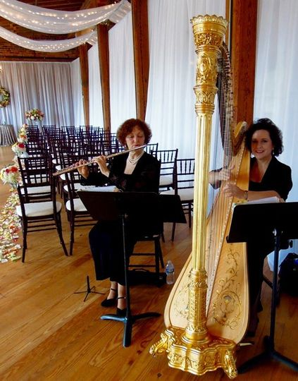Laura byrne's flute & harp duo at melrose knitting mill.