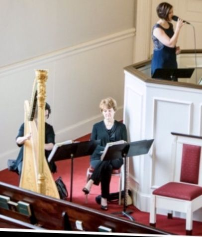 Gorgeous church wedding with laura byrne's flute & harp duo and singer at zebulon baptist.