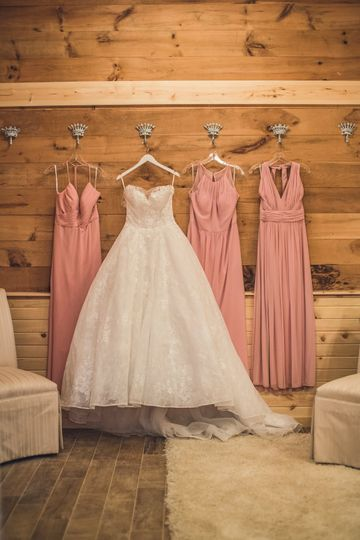 Bride and bridesmaids' gowns