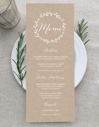 White Ink Menus