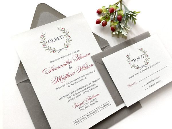 Tmx 1472141252380 Winter Red Berry Wreath Philadelphia, PA wedding invitation