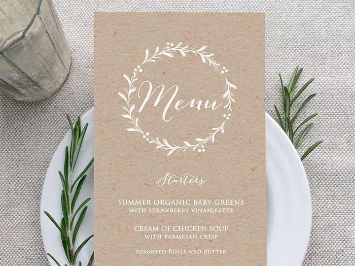 Tmx Kraft Menu White Ink 51 907034 Philadelphia, PA wedding invitation