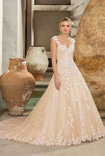 216763cf099 Style 2289 Amber Dropped waist ballgown with beaded lace and cathedral  length train. Optional.