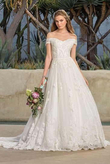 Style 2290 HarlowFull A-line lace dropped waist gown with off the shoulder sleeves and a...