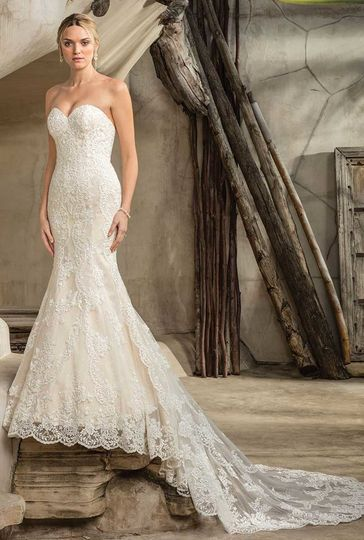 Style 2292 SedonaStrapless, sweetheart neckline lace fit and flare gown with rippling lace layers...