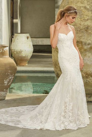 Style 2294 AveryStrapless, sweetheart neckline fit and flare gown with semi cathedral length...