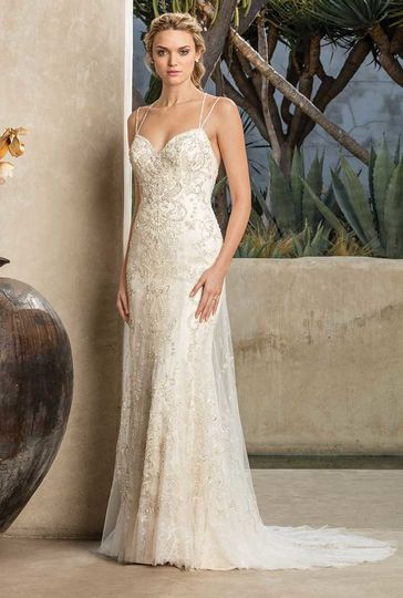 Style 2295 JadeHeavily beaded lace sweetheart neckline sheath gown with double spaghetti straps...