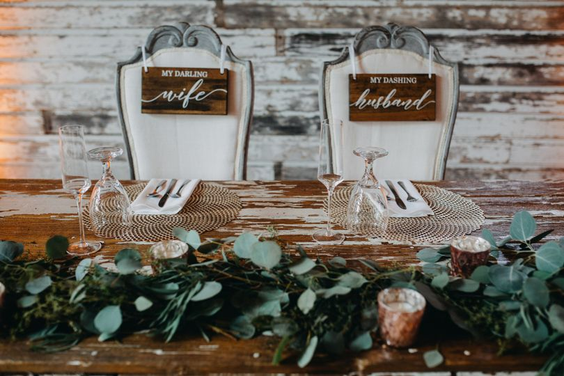 Head table with eucalyptus