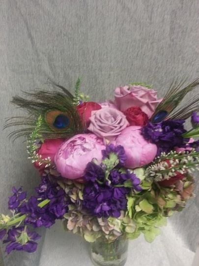 Pink and purple flower arrangement