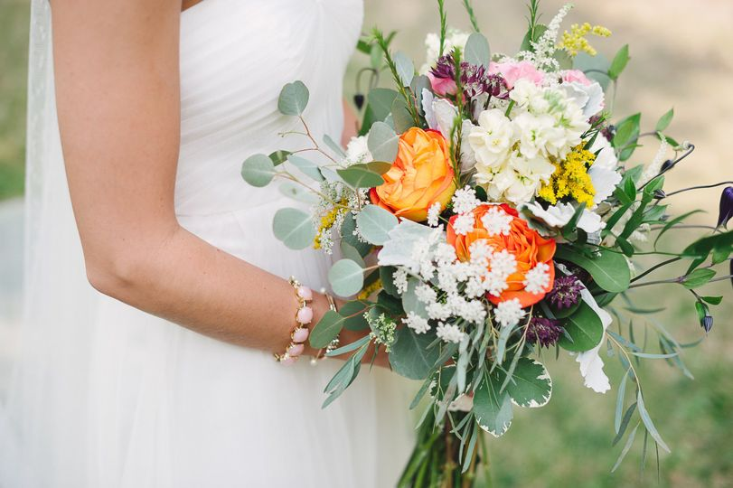 Eucalyptus, Queen Anne's Lace, Roses, clematis, stock, veronica and astrantia all combined for a...