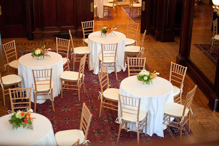 Reception tables with chiavari chairs