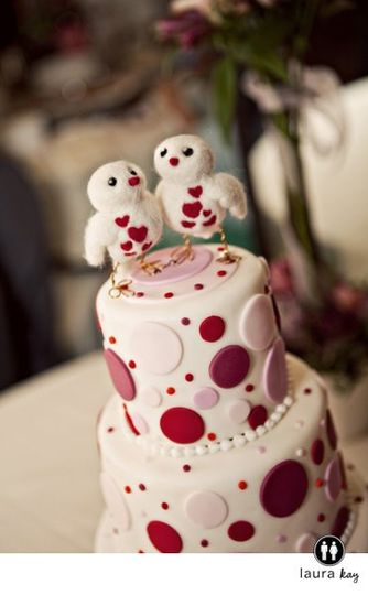 Modern Polka Dot Wedding Cake for Ku Wedding.   Photography by Laura Kay and Wedding Cake topper by...