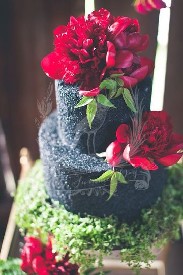 Rustic Opulence  photo shoot with simple 2 tiered Black textured wedding cake.