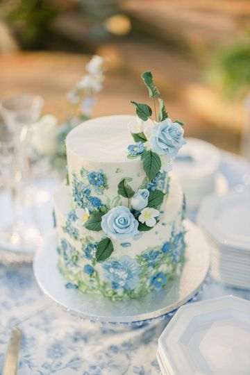 Blue Floral Painted Cake