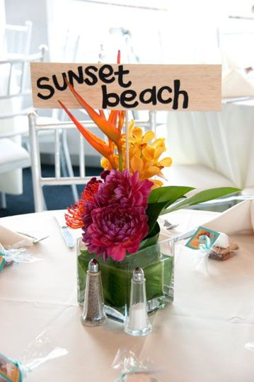 "Each centerpiece had a custom ""driftwood"" insert, with the couple's favorite surf spots from all..."
