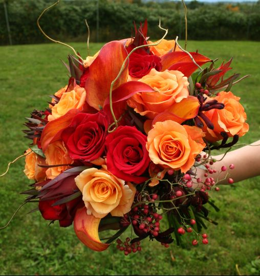 Red and orange bridal bouquet