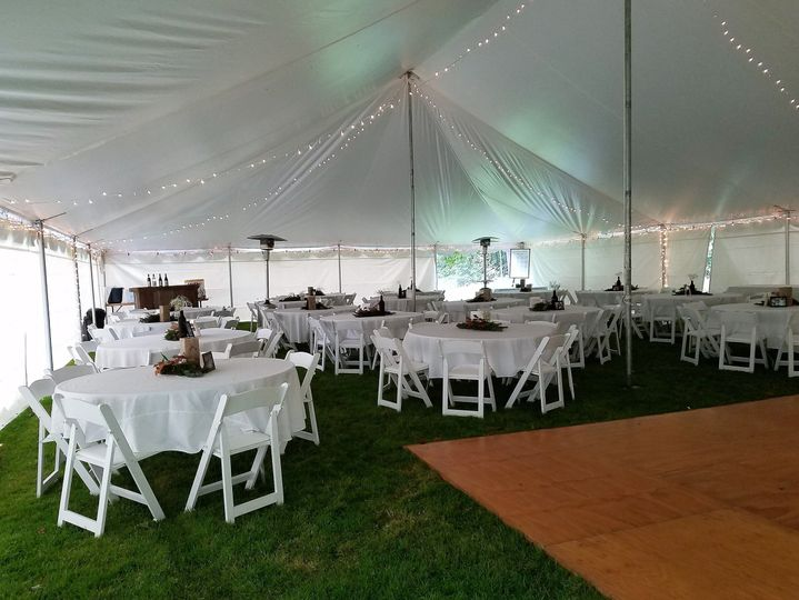 Guest tables inside the tent