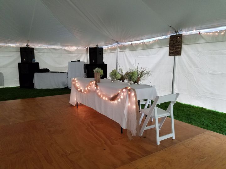 Head table inside the tent