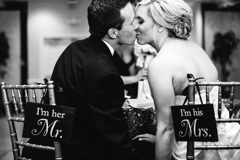 Newlyweds kiss