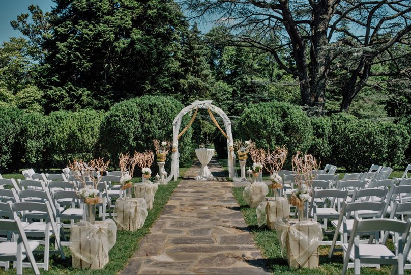 Garden wedding setup
