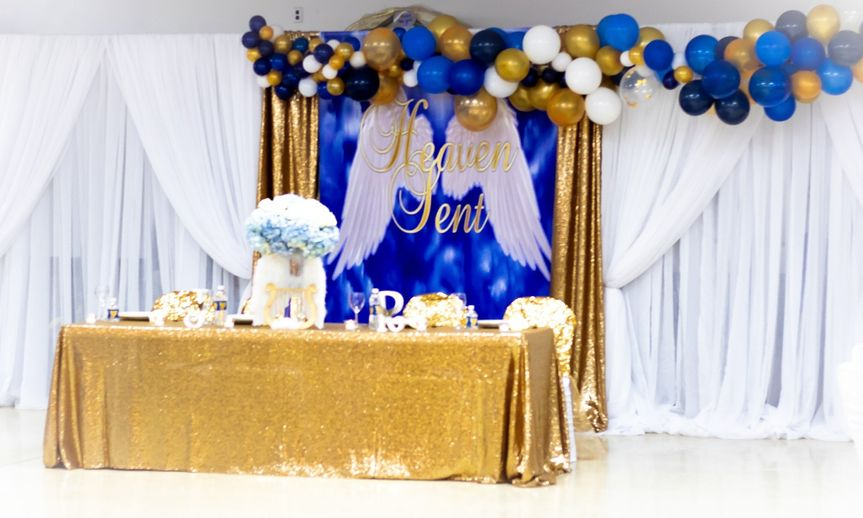 Backdrop, linen, and decor