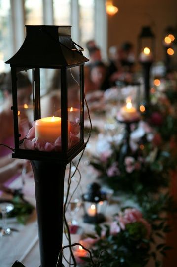Long table setting with candle lighting