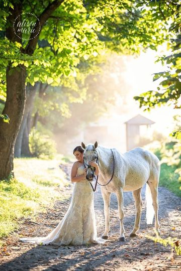 Horse and bride Photo by Alison Marie Photography