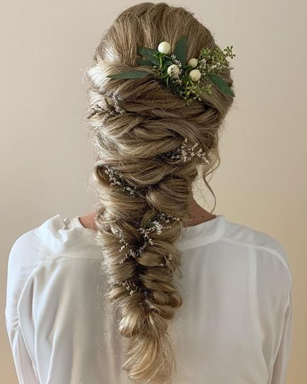 Bridal Hair with Floral Accent