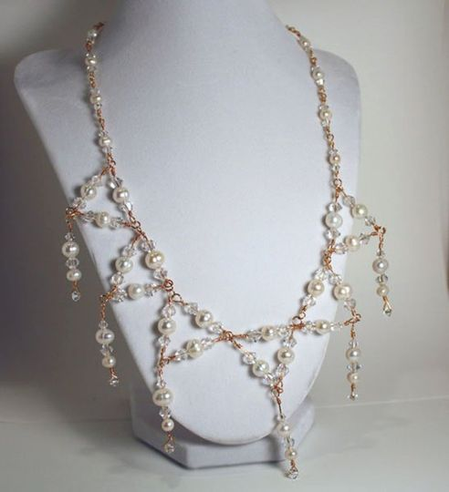 Gold and White Cultured Pearl Necklace