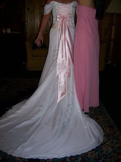 Strapless Silk gown, lace up back with pink silk ties, embroidered and beaded with Swarovski...