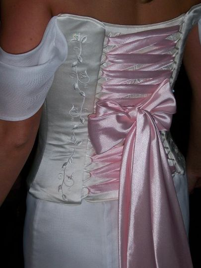 Silk Bodice, embroidered and beaded, with pink lace up back.