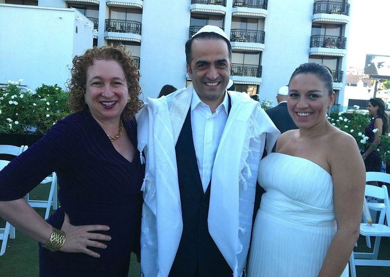 Rabbi Wendy Spears with bride and priest