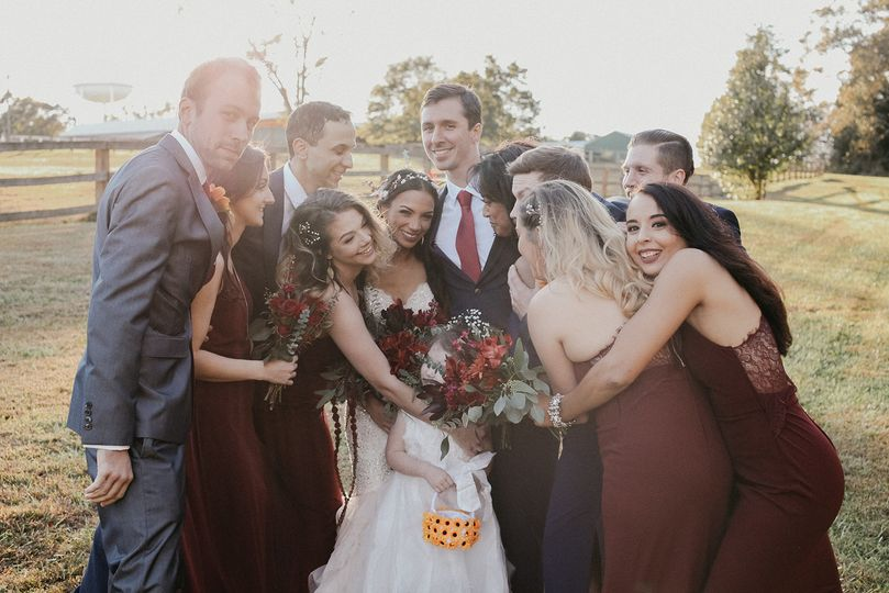 Bridal Party Hug