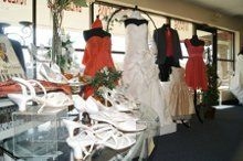A sampling of wedding gowns, bridesmaids, flowers girl dresses and tuxedos.  Shoes and accessories...