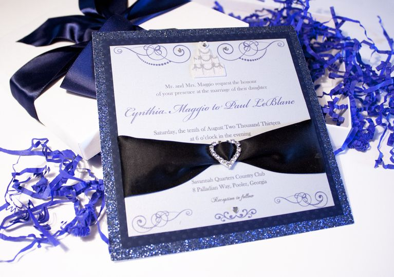 Custom Musical Wedding Invitations This stunning dark blue invitation features 3D embellishments,...