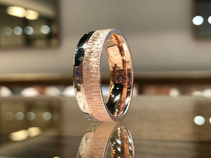 Custom Design: Rose Gold Wedding band with 3/4 Tree bark finish and 1/4 polished.