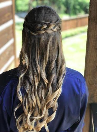 Braided hair with loose curls