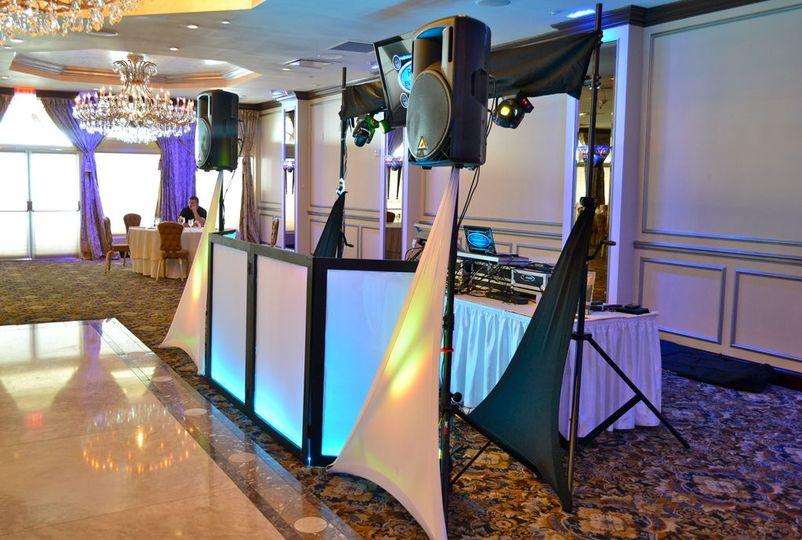Wedding setup with unlighted DJ Booth