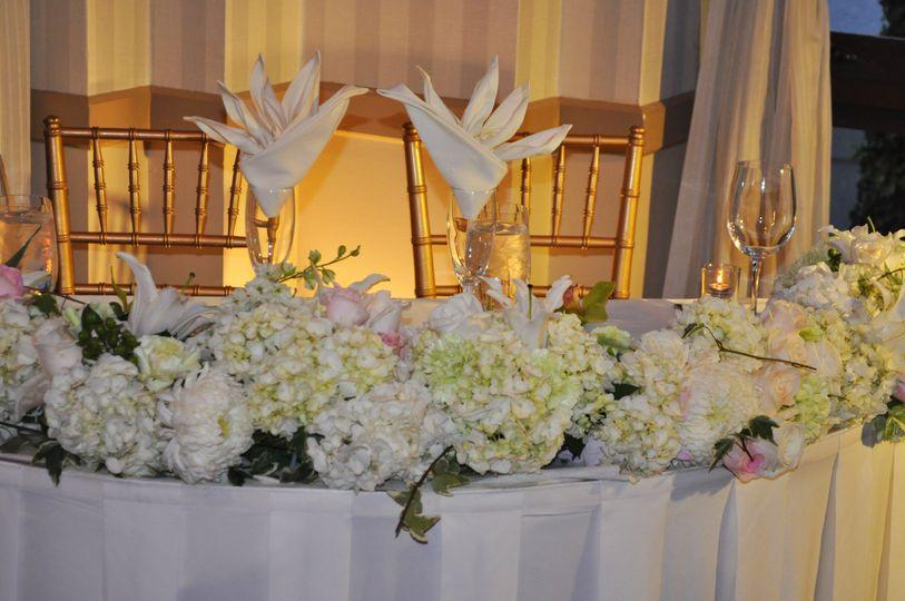 White sweetheart table flower