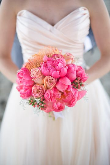 Fuchsia and coral bouquet