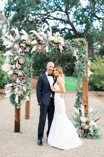 Bohemian pampas ceremony arch