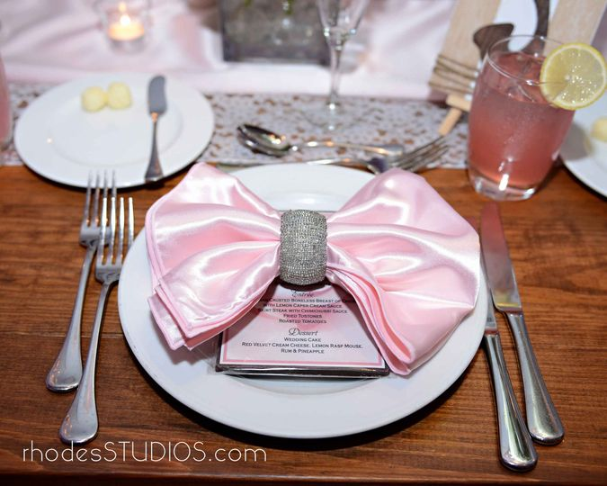 Elegant placesettings at 1805 on the Boulevard located in the Walt Disney World Resort. Call...